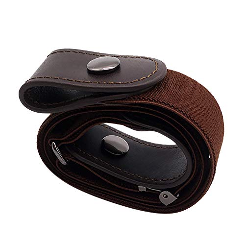 Hatoys Men's Women Belt, Xmas Gift Buckle-Free Invisible Elastic Belt for Jeans No Bulge Hassle (Brown) ()