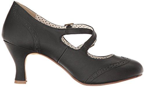 Pinup Couture Damen Flapper-35 Pumps Schwarz (Blk Faux Leather)