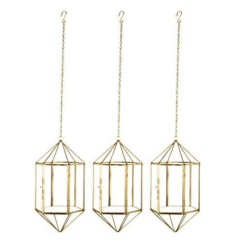 Koyal Wholesale Gold Geometric Metal Glass Hanging Candle Lantern Set of 3 Geometric Modern Prism Pendants, Modern Hanging Vase Terrariums, Air Planters, Plant Holders 12-Inch Chains Included