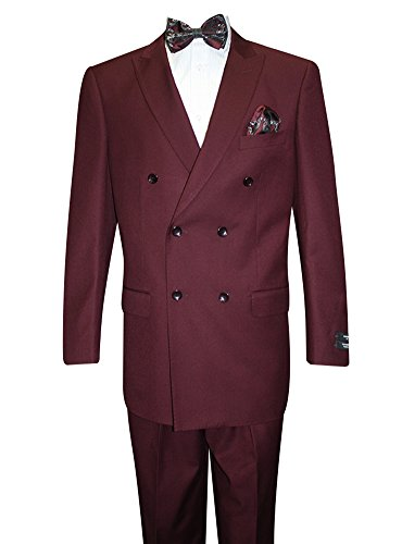 (Statement Double Breasted Burgundy Suits. 2Pc Super 150'S Wool Suit)