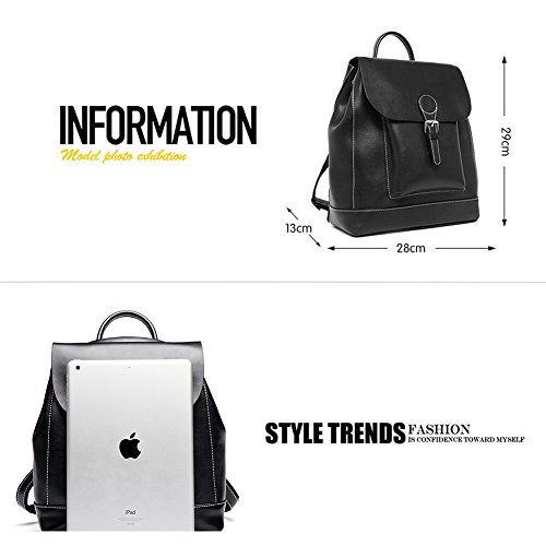 Elegant Backpack Classic School Casual Bookbag Leather Black Color Women Purse Pure Yoome 4SYqUWgnn