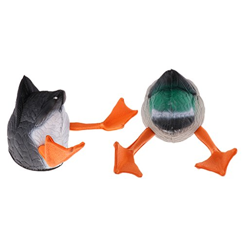 (MonkeyJack 2 Pieces Lifelike Mallard Duck Butt Hunting Decoy Butt-up Darke Feeder Greenhand Gear)