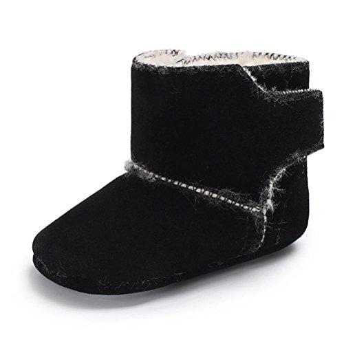 Clode® Baby Mädchen Flauschige Samt Schuhe Soft Sole Krippe Anti Rutsch Schuhkleinkind Stiefel Schwarz