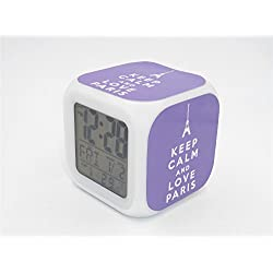Boyan Led Alarm Clock Keep Calm Paris Eiffel Tower Purple Design Creative Desk Table Clock Glowing Electric Led Digital Alarm Clock Kids Toy Gift