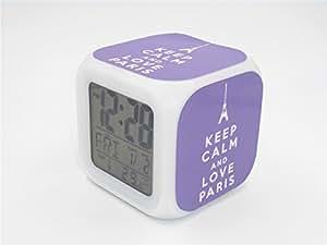 Boyan led alarm clock keep calm paris eiffel tower purple design creative desk table - Unique alarm clocks for teenagers ...