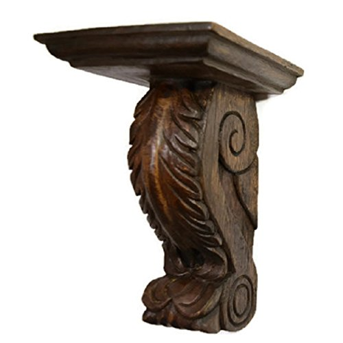 CinMin Oak Stain Handcarved Corbel Wood Wall Bracket/Floating Shelf, 10 Inch (Ravenna) ()