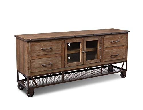 Crafters & Weavers Greenview 72 Inch Forged Iron Base Tv Stand / Console / Sideboard