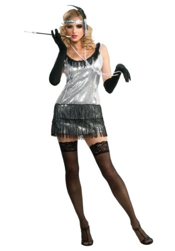 Rubie's Costume Deluxe Adult Silver Sequin Flapper Dress, Silver, Small (Deluxe Flapper Girl Costume)