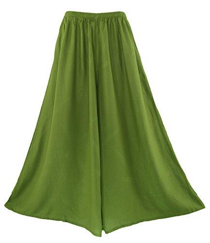 Beautybatik Avocado Green Palazzo Wide Leg Pants Trouser 2X