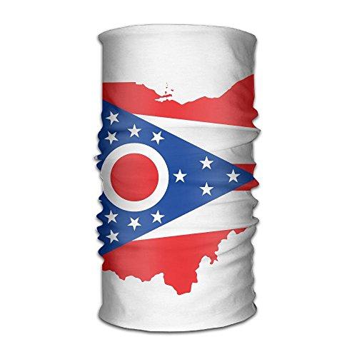 BigKG Men&Women Ohio State Flag Headwear Bandanas Headscarf Tube Scarf Facemask Headbands Neck Gaiter Bandana Balaclava Helmet For Outdoor Running Yoga