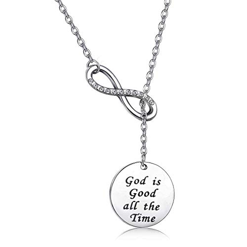 Christian Religious Gift Jesus Cross Jewelry Bible Verse Scripture God is Good All The Time Keychain Inspirational Motivational Christian Quote (god is Good Y Necklace) ()