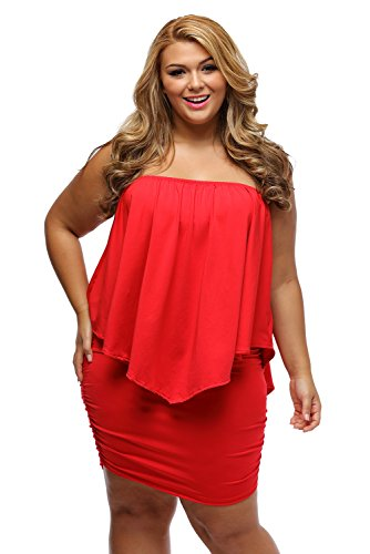Bodycon Size Red Shoulder Plus Off Women's Mini Dressing Sexy Multiple Ruffle Dress Layered R58q74xn