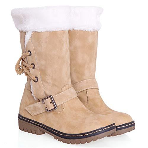 Stivaletti eu43 Boots Alto Inverno Da Donna Stivali Autunno Pelliccia Scarpe Impermeabile Giuntura Vento Hibote Caldo Neve 1 Allineato Eu34 Piatto UPpqx