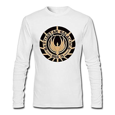 YangJJ Men's Battlestar Galactica Seal Logo Long Sleeve T shirts Size XL White (What Did Kanye)