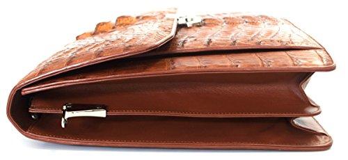 Skin Mens Handbag Bag Strap Briefcase Tan Crocodile Large Business Authentic Hornback M ZqEZp