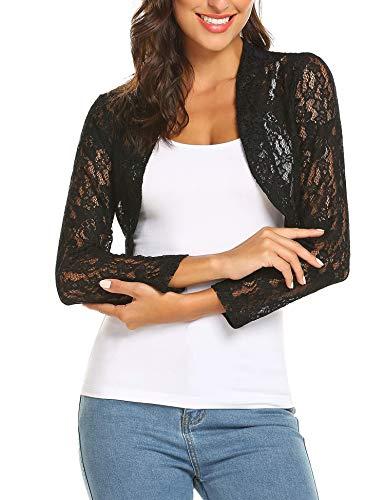 - Grabsa Women's 3 4 Sleeve Lace Shrugs Bolero Cardigan Crochet Sheer Crop Jacket, Black 1, Large