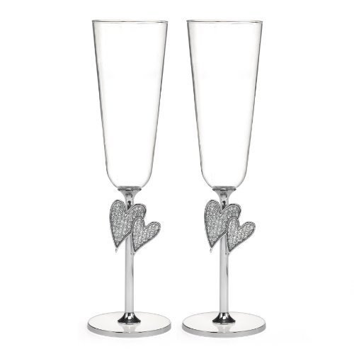Hortense B. Hewitt Diamond Dust Heart Champagne Toasting Flutes Wedding Accessories, Set of 2