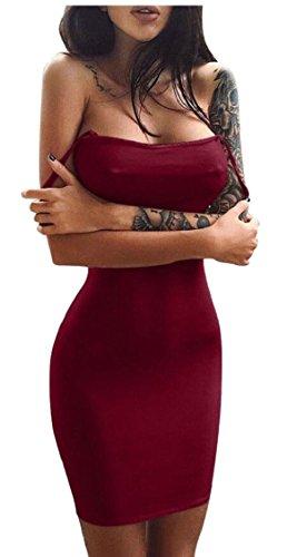 Jaycargogo Fines Bretelles Sexy Casual Femmes Manches Bodycon Vin Robe Club Midi Rouge