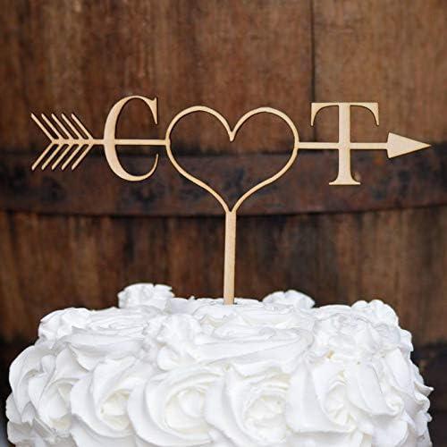 Amazon Com Celycasy Rustic Arrow Cake Topper Initials Cake Topper Rustic Wedding Cake Topper Ideas Boho Cake Topper Wedding Cake Decorations Home Kitchen