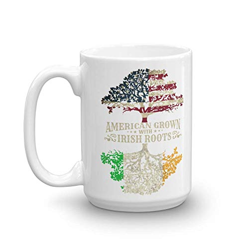 American Grown With Irish Roots Flag Of America & Ireland Tree Art Coffee & Tea Gift Mug, Décor, Kitchen Table Accessories, St. Patrick