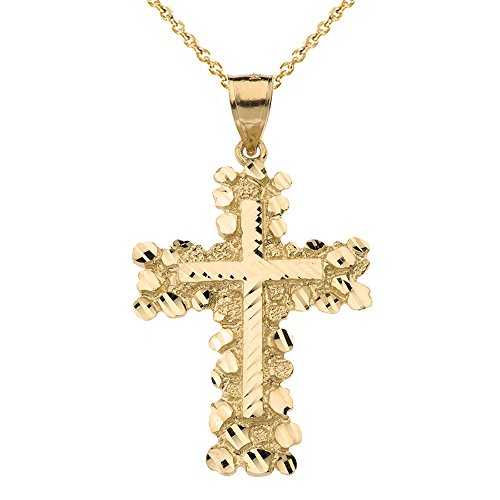 (Solid 14k Yellow Gold Nugget Cross Crucifix Religious Pendant Necklace (Large), 18