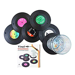 - Piattini per tazzine da caffè, a forma di dischi retrò in vinile, dalle dimensioni di un CD, 6 pezzi