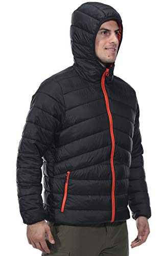 (MIER Men's Packable Hooded Puffer Jacket Water-Resistant Lightweight Insulated Outerwear Coat, 3M Thinsulate Filling, YKK Zip, Black/Orange,)