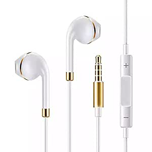 LEasylife EarPods, Earphones With Microphone For Apple Products iPhone 6s, 6s Plus, 6, 6 Plus, 5s, 5c, 4(White-Golden)