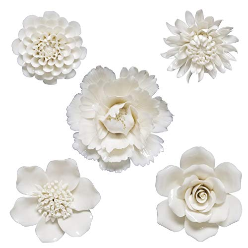 Habitat Klara Set of 5 Cream Ceramic Floral Decor Wall Art White & Offwhite