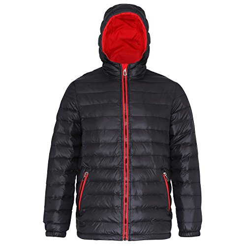 2786 Mens Hooded Water & Wind Resistant Padded Jacket Black/Red