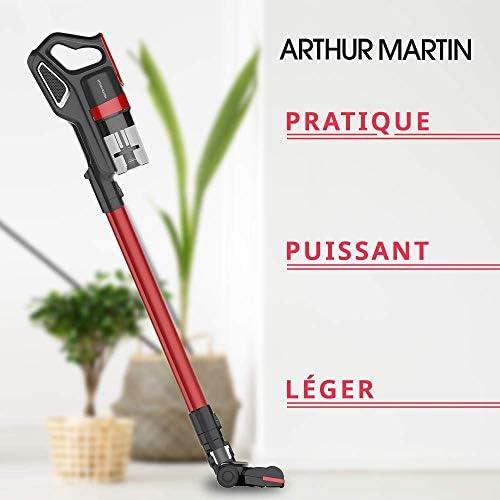 Arthur Martin AMP185 Aspirateur balais sans Fil 22,2V, Rouge