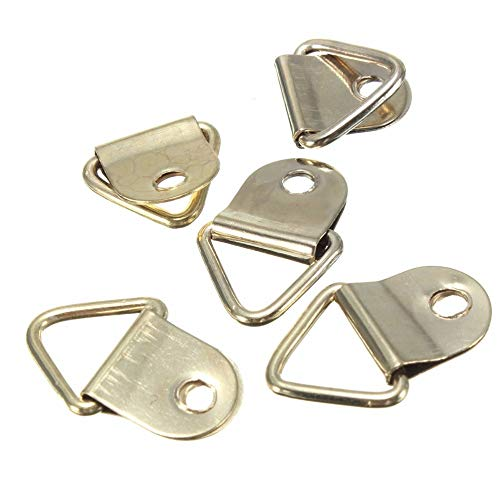 (Picture Hangers - 100pcs Creative Golden Picture Hangers Brass Triangle Photo Frame Wall Mount Hanger Hook Ring Iron - Monkey Nail Assorted Cubicle Wont Assortment Step Seen Hardware Slatwal)