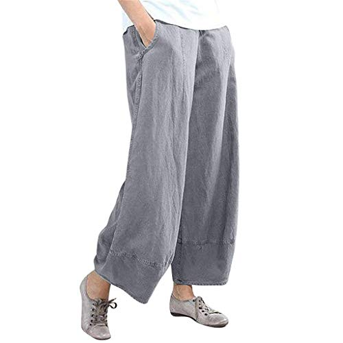 HEJANG Women's Yoga Sports Workout Loose Pure Color High Waist Wide Leg Pants Cotton Linen 2019 (XXL, Gray)