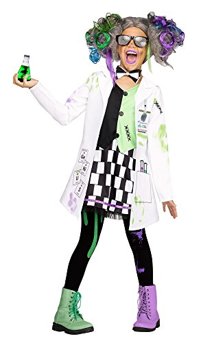 Fun World Mad Scientist Girl Costume, White, Medium 8-10