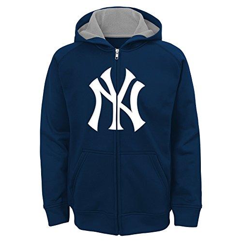 MLB New York Yankees Youth Boys 8-20 Team Logo Full Zip Hood-S (8), Athletic Navy