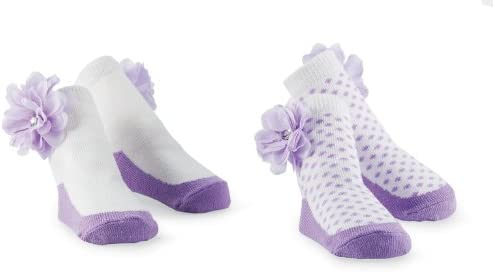 Mud Pie Baby Buds Decorated Cotton Socks, Purple, 0-12 Months, 3 Pack