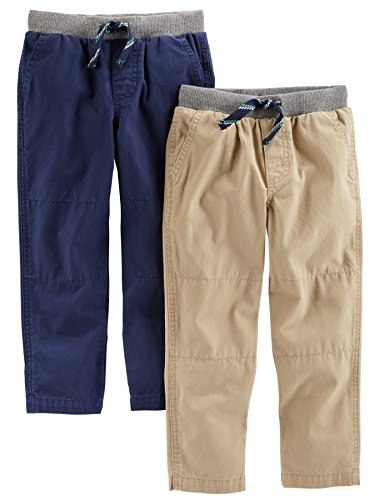 Simple Joys by Carter's Baby Boys' Toddler 2-Pack Pull on Pant, Khaki, Navy, 5T
