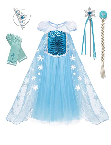 (aibeiboutique Snow Queen Princess Elsa Costume Toddler Girls Sequins Dress)