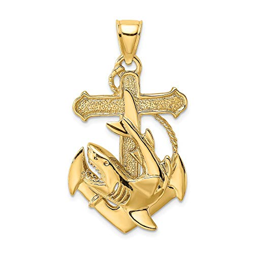 14k Yellow Gold 2 D Nautical Anchor Ship Wheel Mariners Shark Pendant Charm Necklace Sea Life Fine Jewelry Gifts For Women For Her 14k Gold Nautical Anchor