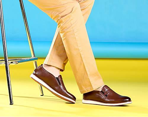 LXLA- Mocassino Uomo Confortevole In Pelle Con Chiusura A Slitta, Scarpe Da Uomo In Pelle Testa Tonda Con Punta Arrotondata Da Uomo (Colore : Brown, dimensioni : 41) Brown