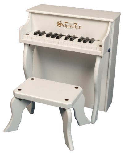 Schoenhut White 25 Key Elite Spinet with Bench by Schoenhut