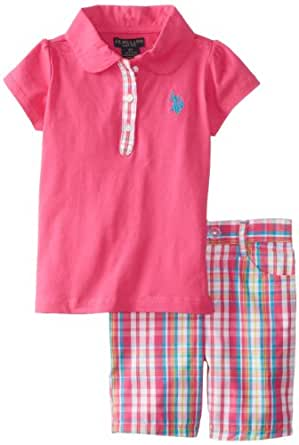 U.S. POLO ASSN. Little Girls' 2 Piece Set Polo Shirt and Plaid Bermuda Shorts, Pink Kite, 5