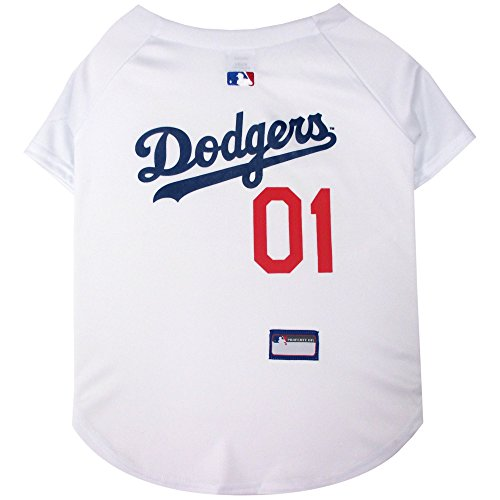 Cheerleader Jock Costume - Pets First MLB Los Angeles Dodgers Dog Jersey, Medium
