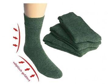 TippTexx24 ® 3 Pares de Calcetines Completo de Peluche con Lana de Oveja Loden Verde Botas