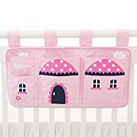 Hugmii 4 Pocket Cute Sturdy Bedside Caddy Hanging Organizer for Toys, Books, Tablets. (Pink)
