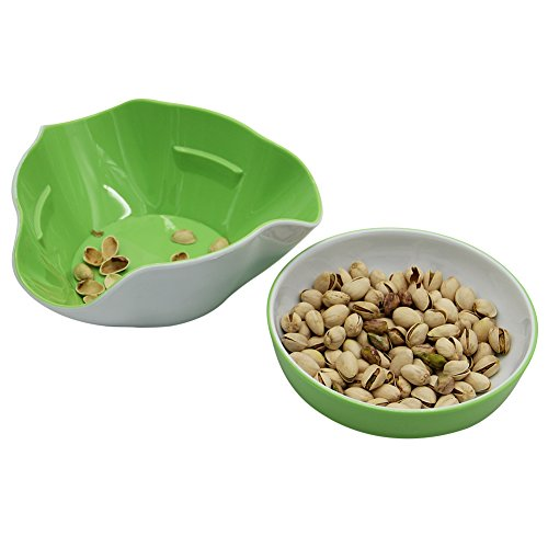 Maggift Green & White Double Dish Snack Bowls for Serving Shelled Nuts,Beans,Candy,Fruits and Salads (Green & White) by Maggift (Image #2)