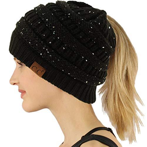 Ponytail Messy Bun BeanieTail Soft Winter Knit Stretchy Beanie Hat Cap Sequins -