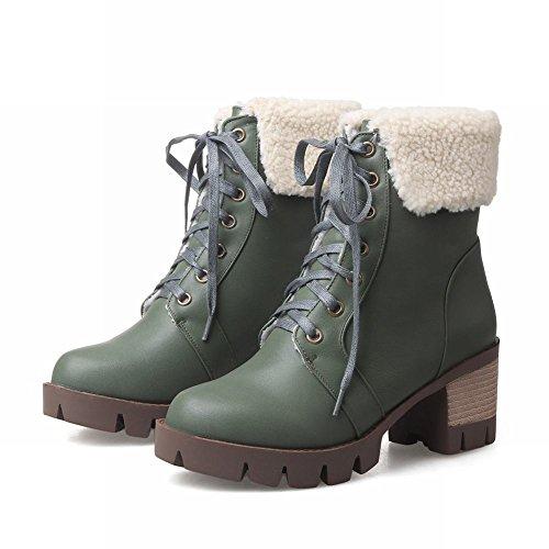 Carolbar Womens Lace-up Comfort Namaakbont Platform Mid-hiel Winter Korte Laarzen Diep Groen
