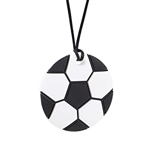 AmazingM Sports Sensory Chew Necklace for Boys and Girls,Food Grade Silicone Safety Pendant Chewy Teether Jewelry for Kids with Autism, ADHD,Oral Motor,Teething,Biting Needs (Soccer)