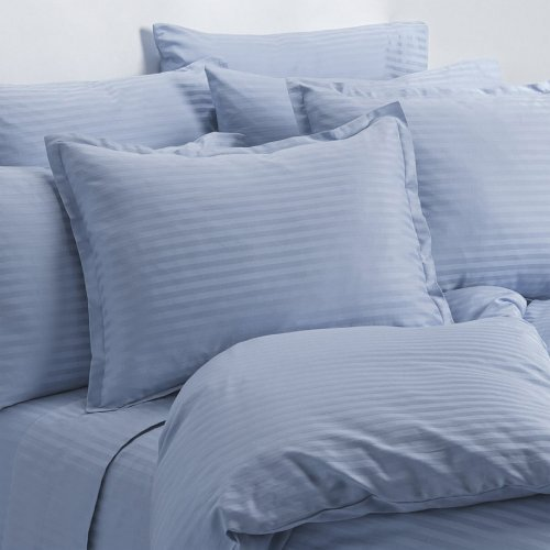 Full Size Light Blue 400 Thread Count 100% Cotton Sateen Dobby Stripe Sheet Set